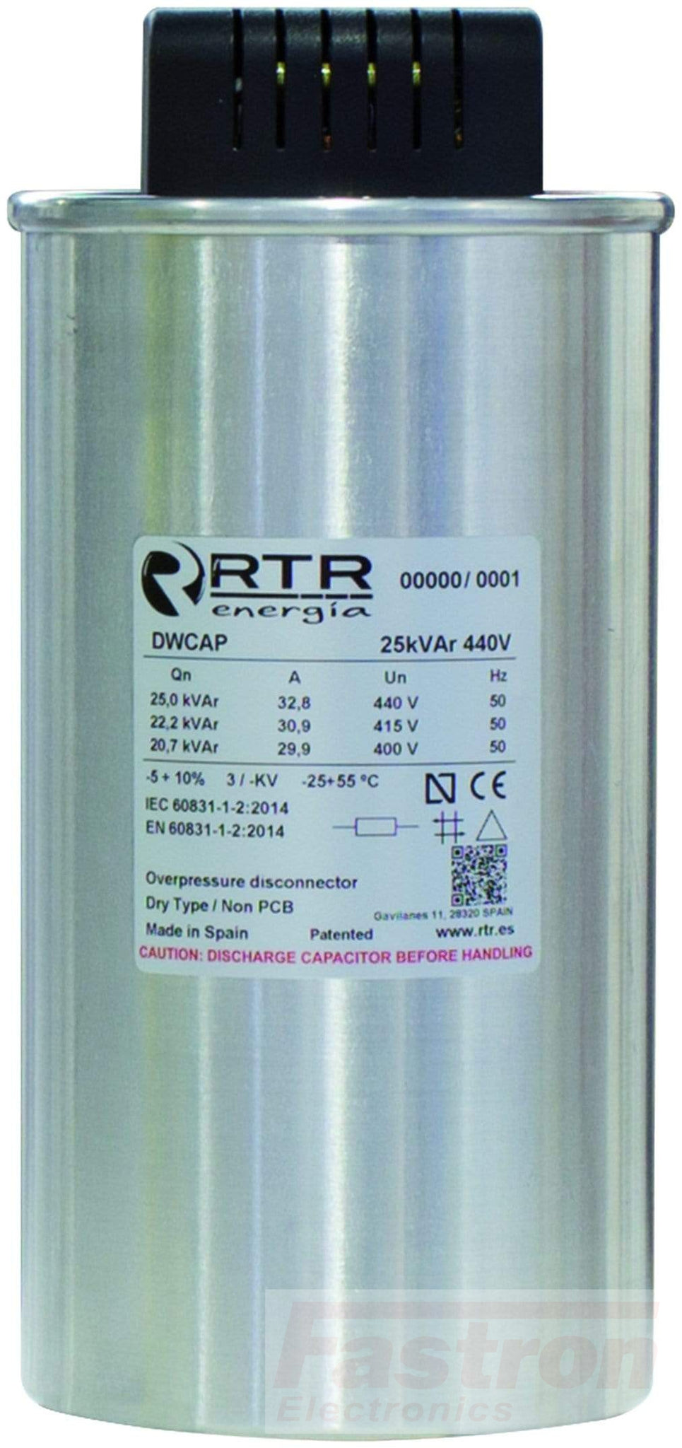 D5251505TER0000 Power Factor Correction Capacitor, 3 Phase, Dry Type DWCAP 15.0 KVAR, 525V, 50HZ