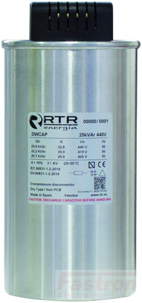 RTR Energia Power Factor Correction Capacitor D5254005TER0000 Power Factor Correction Capacitor, 3 Phase, Dry Type DWCAP 40.0 KVAR, 525V, 50HZ FE-D5254005TER0000