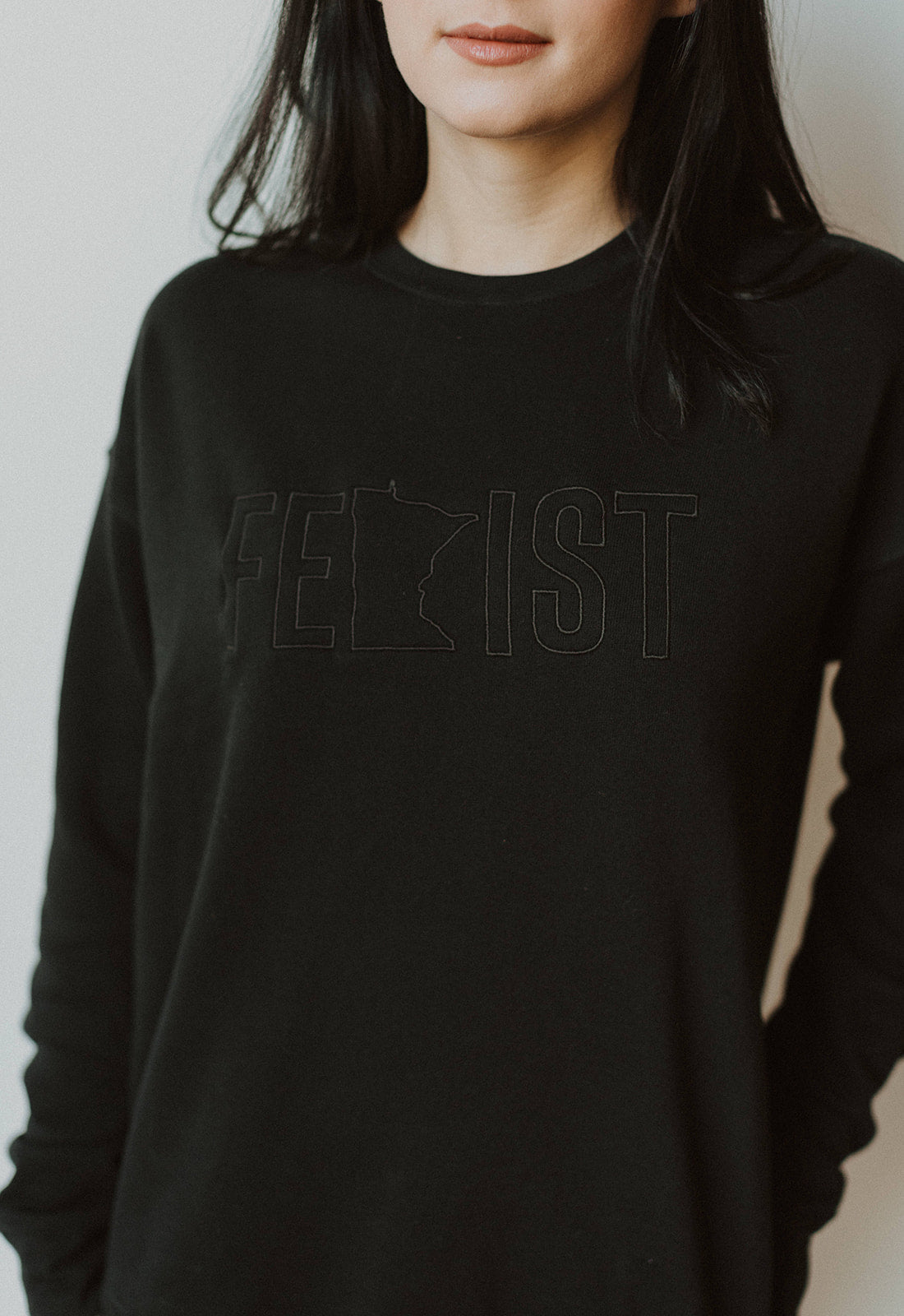 MnFem Embroidered Black Crew