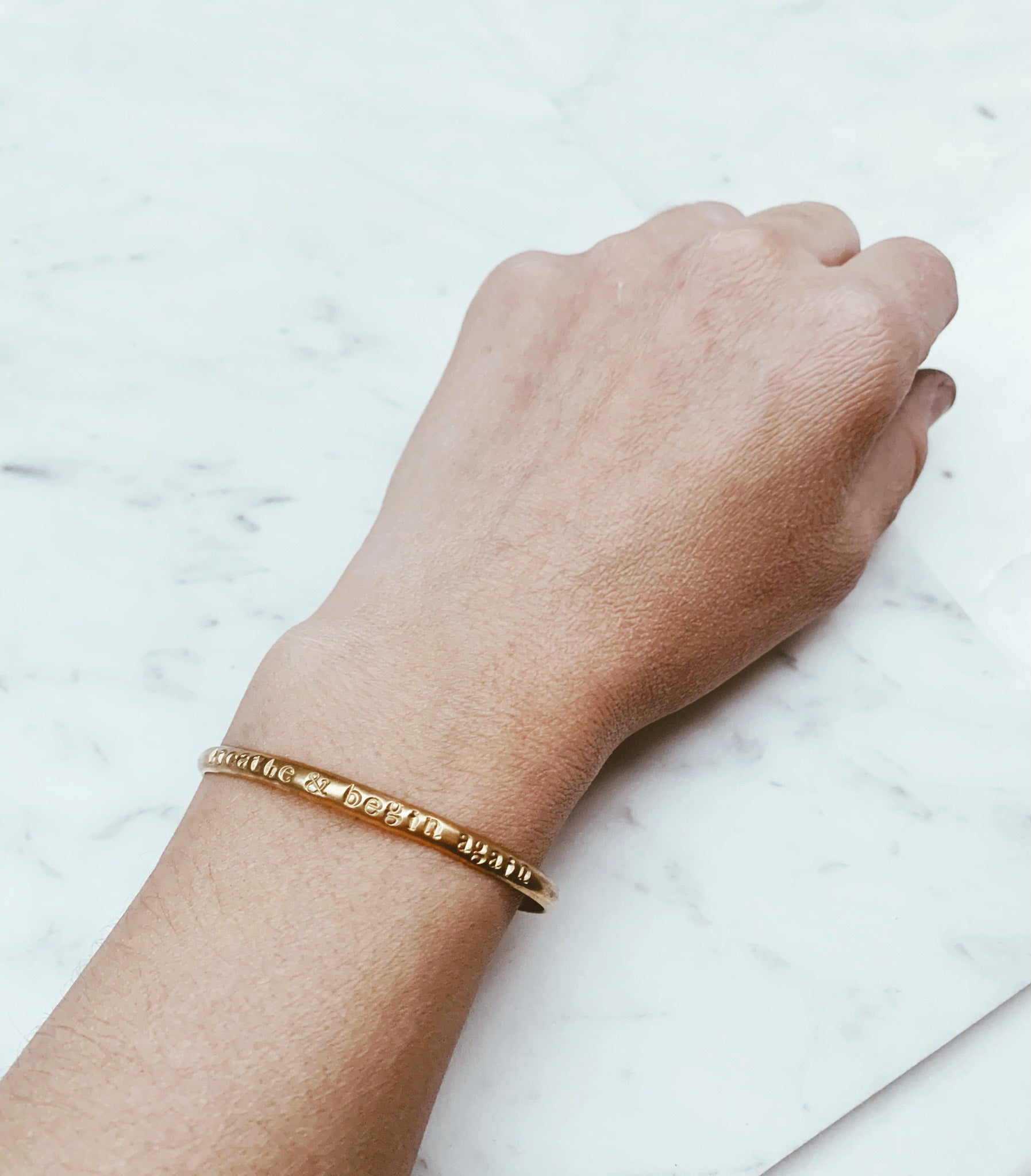 Breathe & Begin Again Brass Bangle Cuff