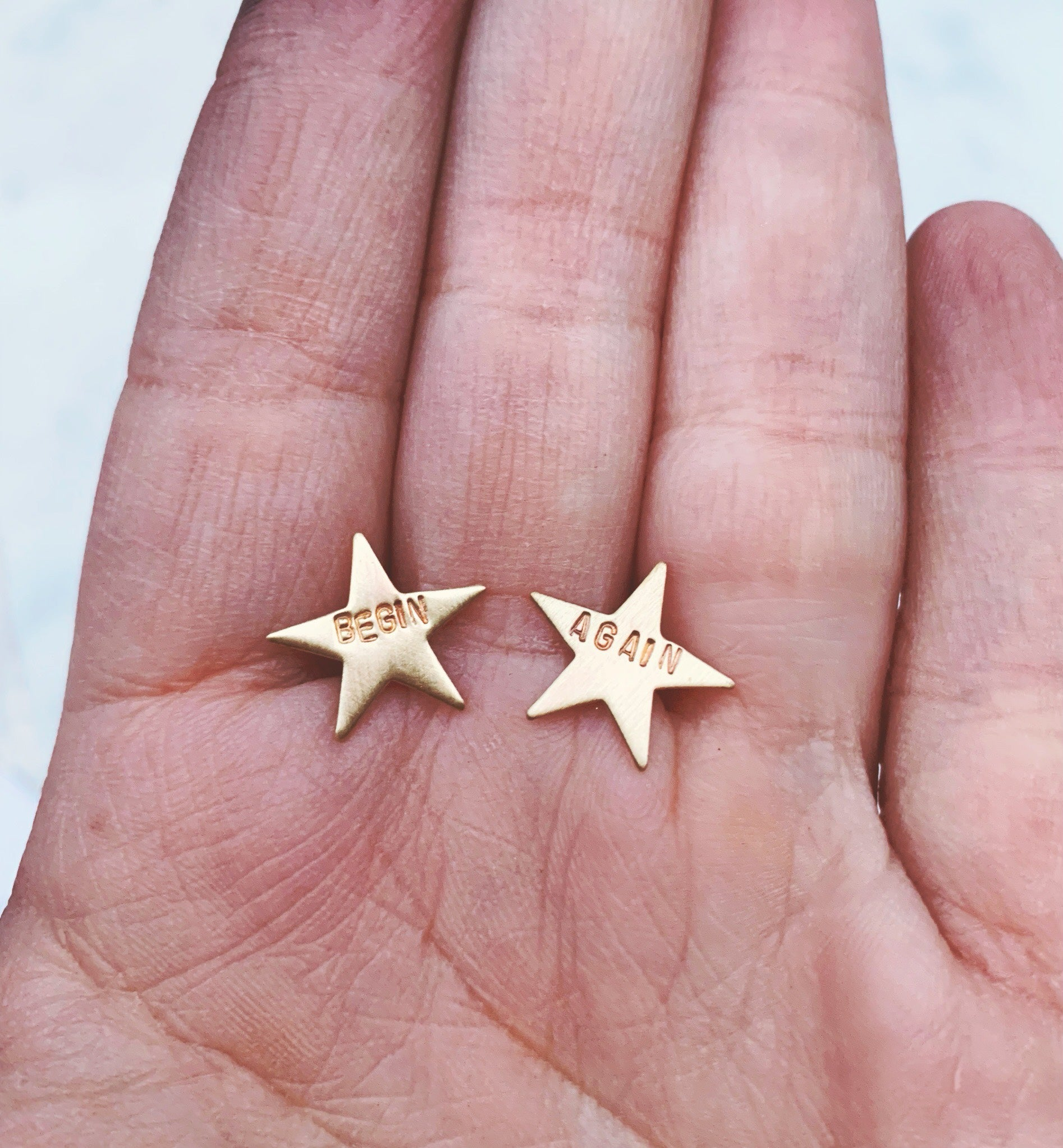 Begin Again Brass Star Studs With Sterling Silver Post