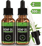 (2 Pack) Hemp Oil infused with Canabadiol for Pain Relief Anxiety Sleep Support (500mg | 30ml) Natural Organic Hemp Seed Full Spectrum Extract - Zero THC