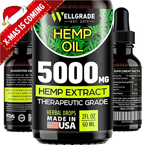 Hemp Oil for Pain & Anxiety Relief – 5000 MG – Premium Seed Grade – Natural Hemp Oil for Better Sleep,...