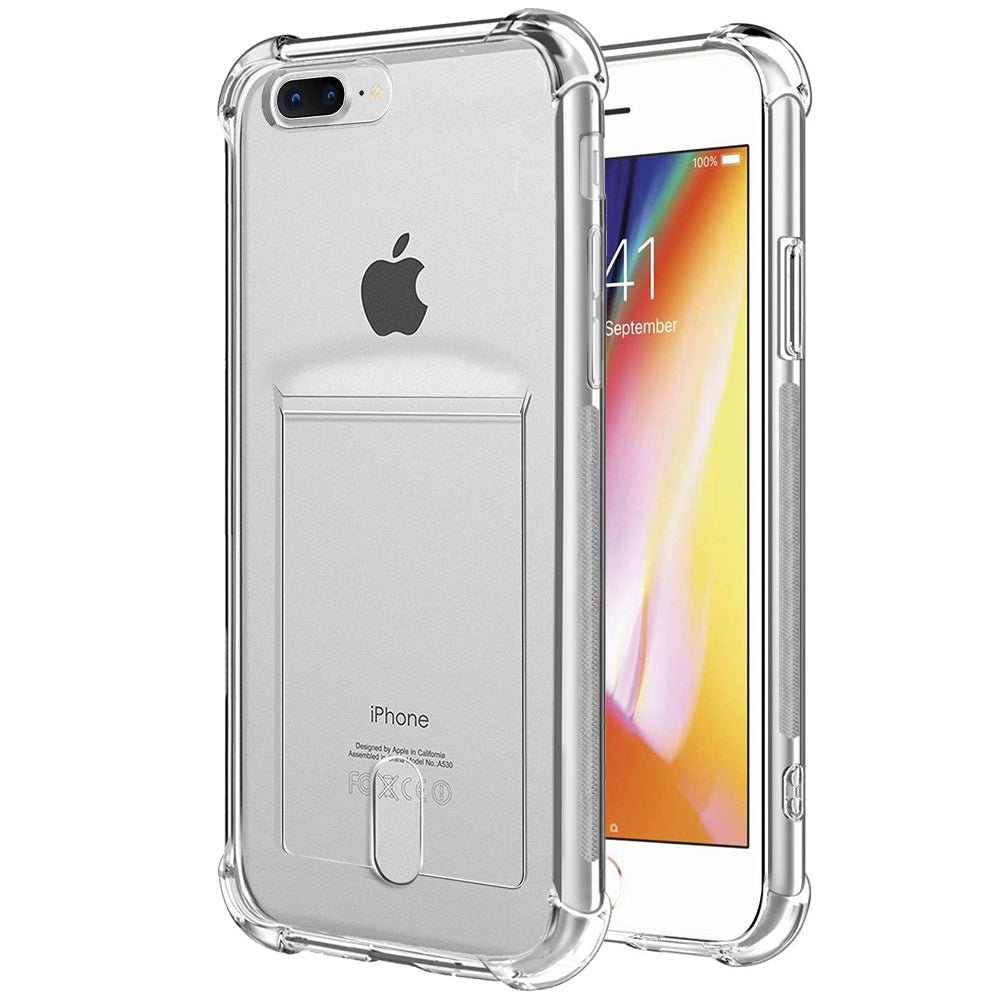 the best attitude d0c22 7fc6b ANHONG iPhone 7 Plus / 8 Plus Clear Case with Card Holder, [Slim  Fit][Wireless Charger Compatible] Protective Soft TPU Shock-Absorbing  Bumper Case ...