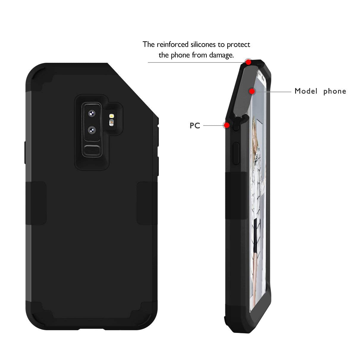 size 40 fc15f e8430 ANHONG Samsung Galaxy S9 Case, Hybrid Plastic and Silicone Triple Layer  Heavy Duty Back Case