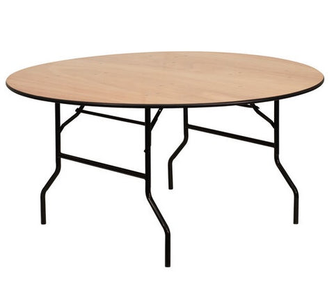 60'' Round Wood Folding Banquet Table