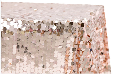 "Large Payette Sequin Linens 90""x132"" Rectangular - Blush/Rose Gold"