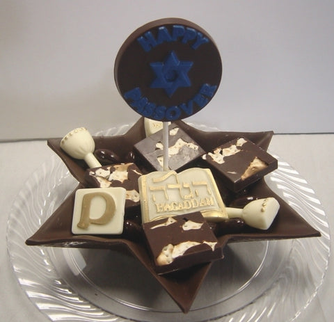 Passover Star Plate with Chocolate Matzoh