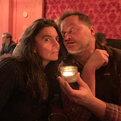 Photo of couple with candle and funny faces