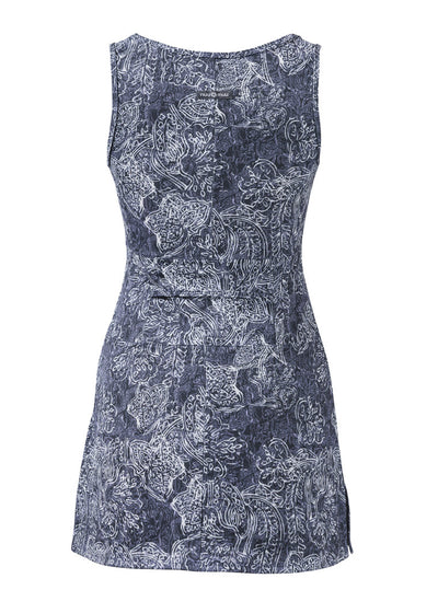 Rear view of Adrift Ruu-Muu pocket exercise dress, running dress, travel dress, athletic dress