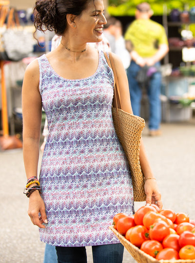 Woman standing in Farmer's market in Grace Nuu-Muu Scoop pocket exercise dress, running dress, travel dress, athletic dress