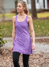 Woman walking in Moxie Nuu-Muu Scoop pocket exercise dress, running dress, travel dress, athletic dress