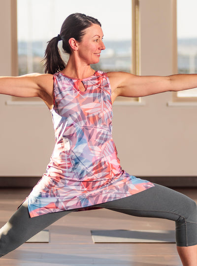 Woman doing yoga in Paradise Nuu-Muu exercise dress, running dress, travel dress, athletic dress