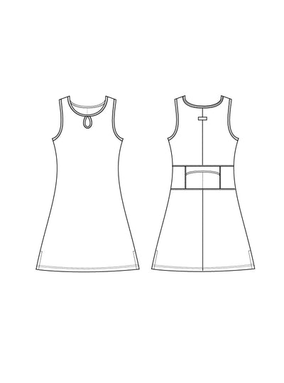 Clementine Ruu-Muu pocket exercise dress, running dress, travel dress, athletic dress.