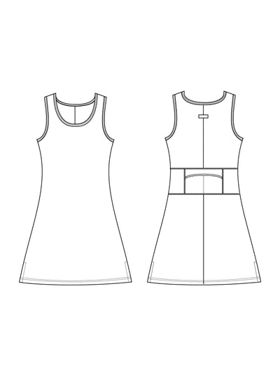 Waterfall Nuu-Muu Scoop pocket exercise dress, running dress, travel dress, athletic dress