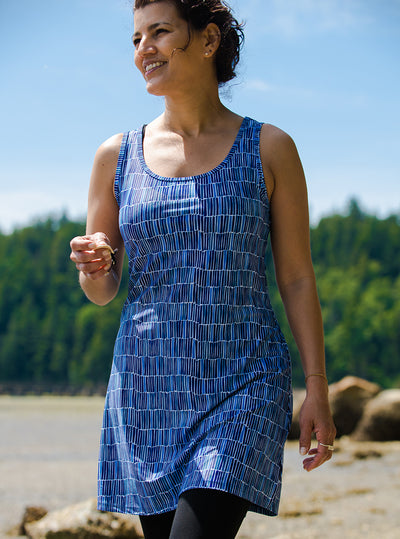 Woman walking in Waterfall Nuu-Muu Scoop pocket exercise dress, running dress, travel dress, athletic dress