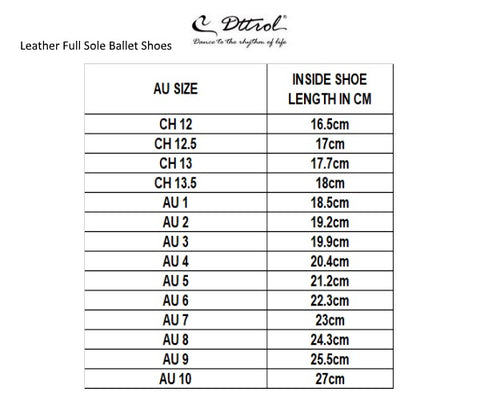Ballet Shoes Sizing Guide