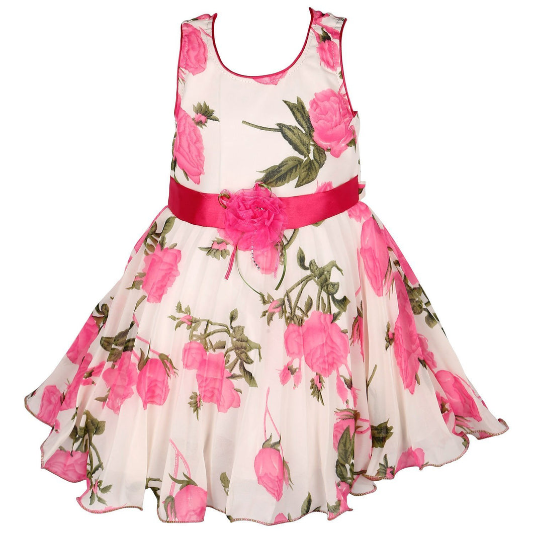 Birthday Dress for Girls - Crepe Georgette Pink