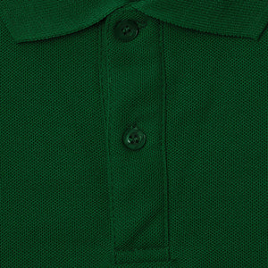 Bottle Green - Classic Plain Polo - Long Sleeve