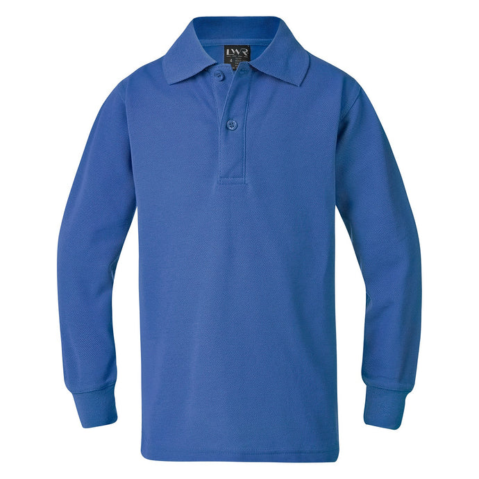 Judson -Mid Blue - Classic Plain Polo - Long Sleeve