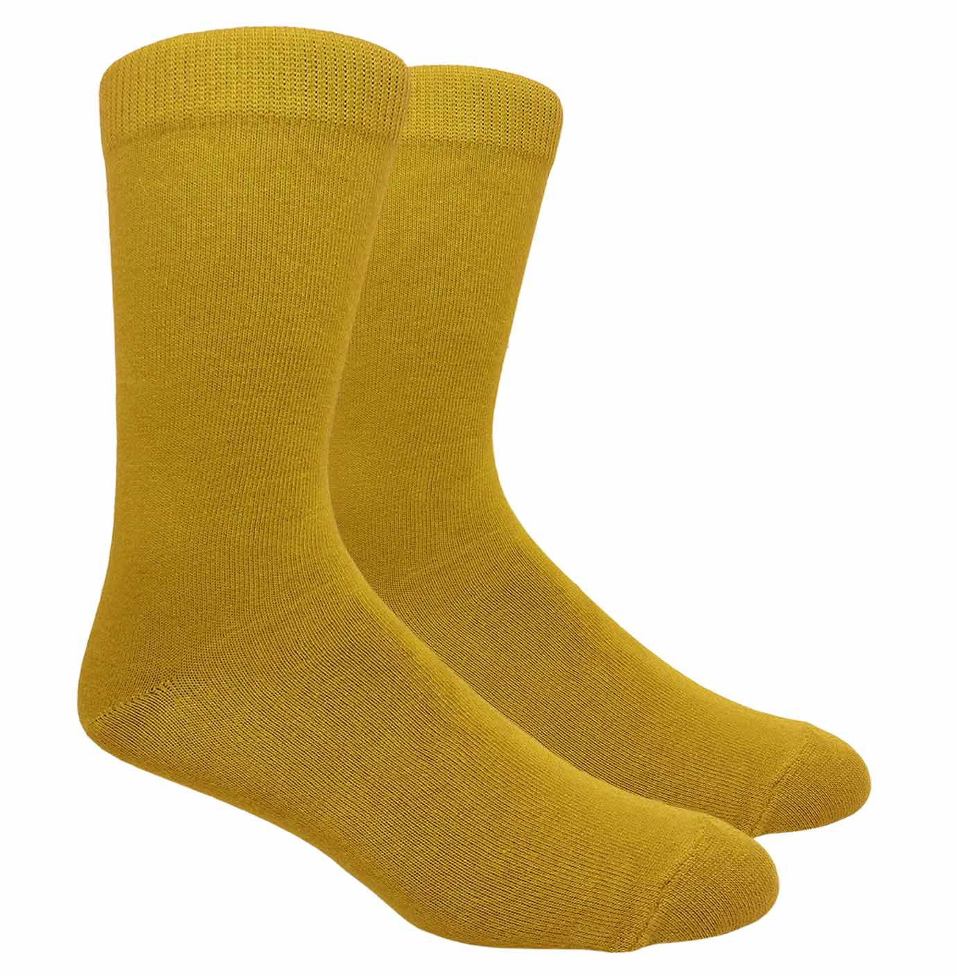 Black Label Plain Dress Socks - Mustard