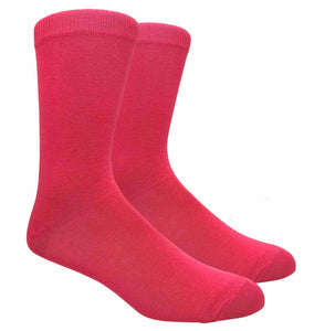 Black Label Plain Dress Socks - Hot Pink
