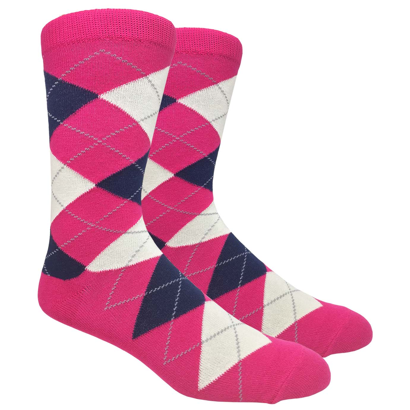 FineFit Black Label Argyle Socks - Hot Pink