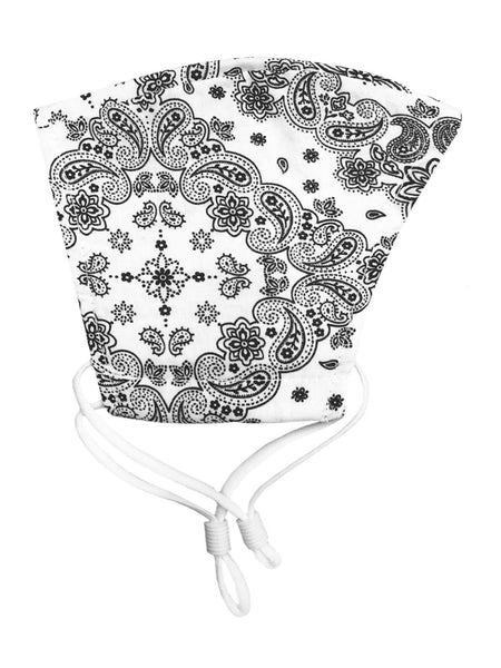 White & Black Paisley Mask