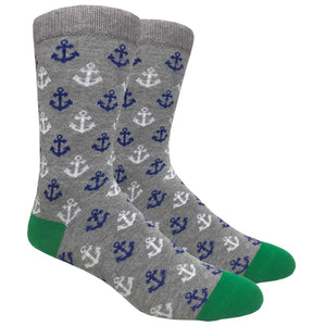 FineFit Black Label Novelty Socks - Grey Anchors