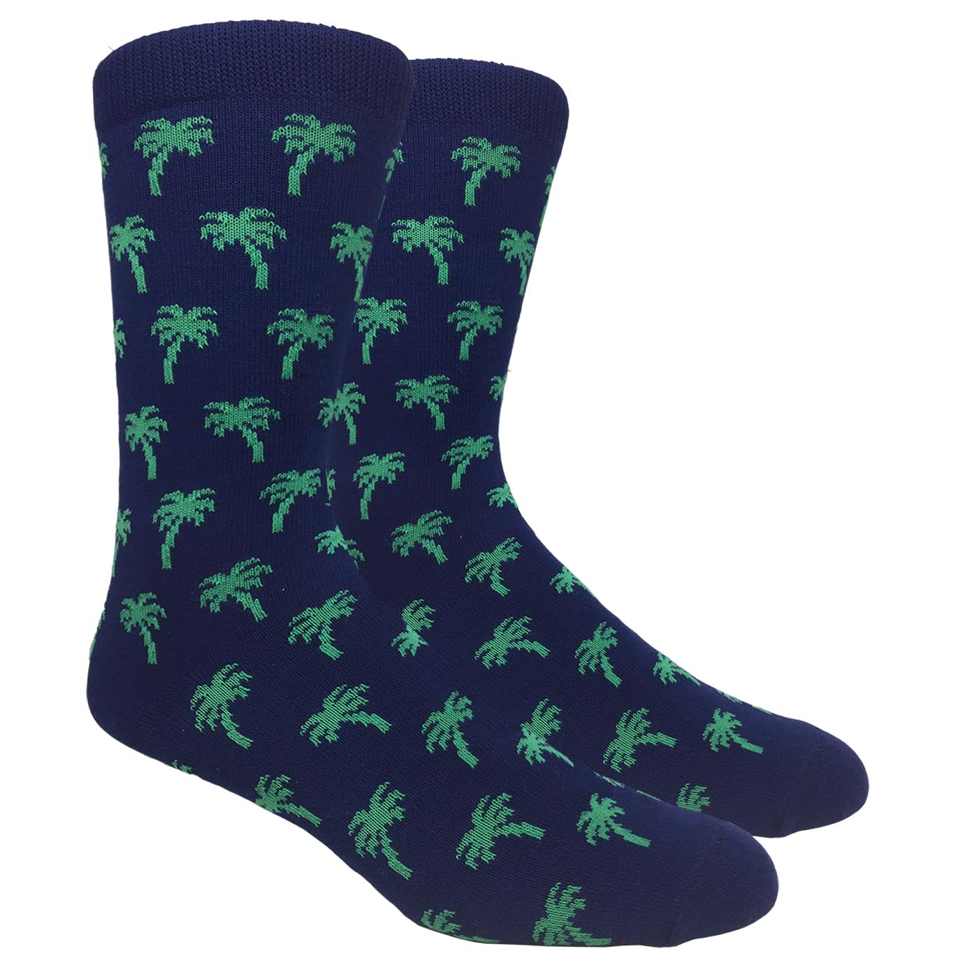 FineFit Black Label Novelty Socks - Navy Blue Palm Trees