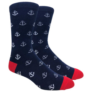 FineFit Black Label Novelty Socks - Navy Blue Anchors