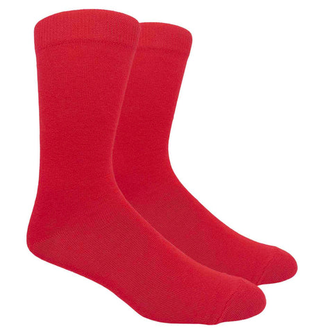 Black Label Plain Dress Socks - Red