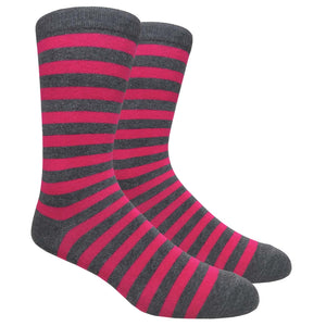FineFit Black Label Stripe Socks - Charcoal Grey & Hot Pink