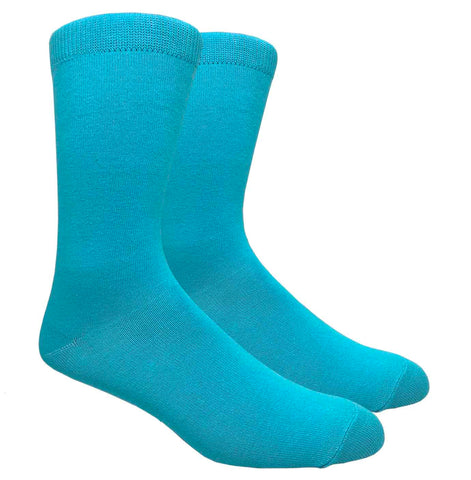 Black Label Plain Dress Socks - Turquoise