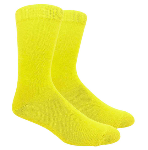 Black Label Plain Dress Socks - Yellow