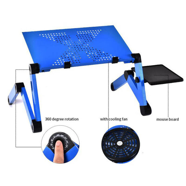 Adjustable Ergonomic Portable Aluminum Laptop Desk (Mouse Pad Included)
