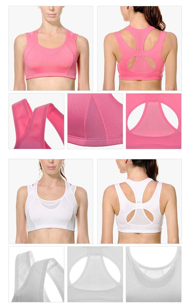 Women's High Impact Support Wirefree Workout Racerback Sports Bra Top