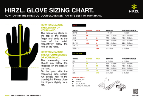 Hirzl Glove Sizing Chart