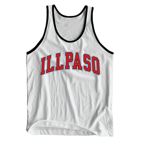 """Jersey"" Unisex Tank Top (White & Black) by illpaso"