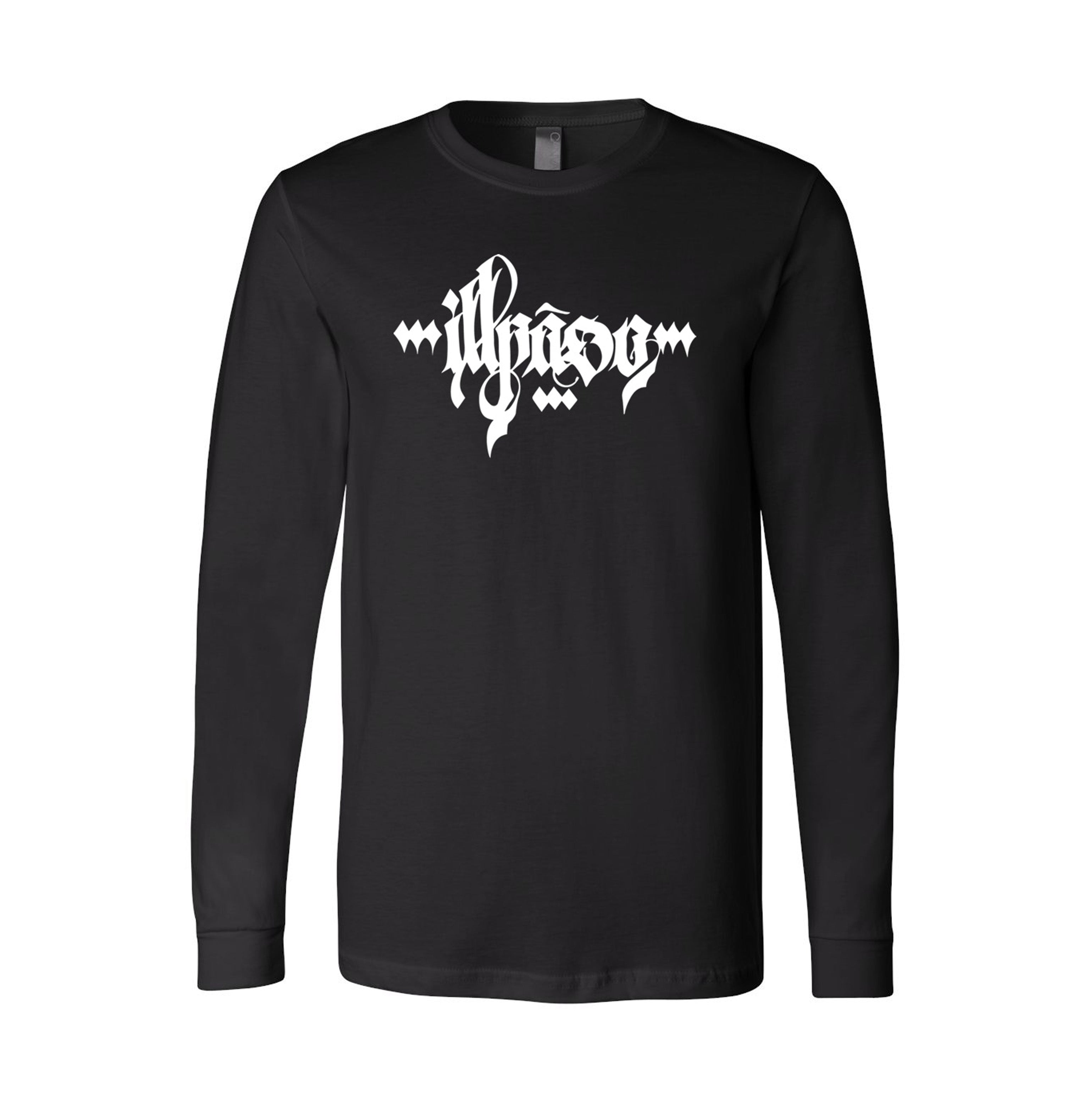 """Calligraphy 1"" Adult Uni-Sex Long Sleeve T-shirt (Black) by Owenuma"