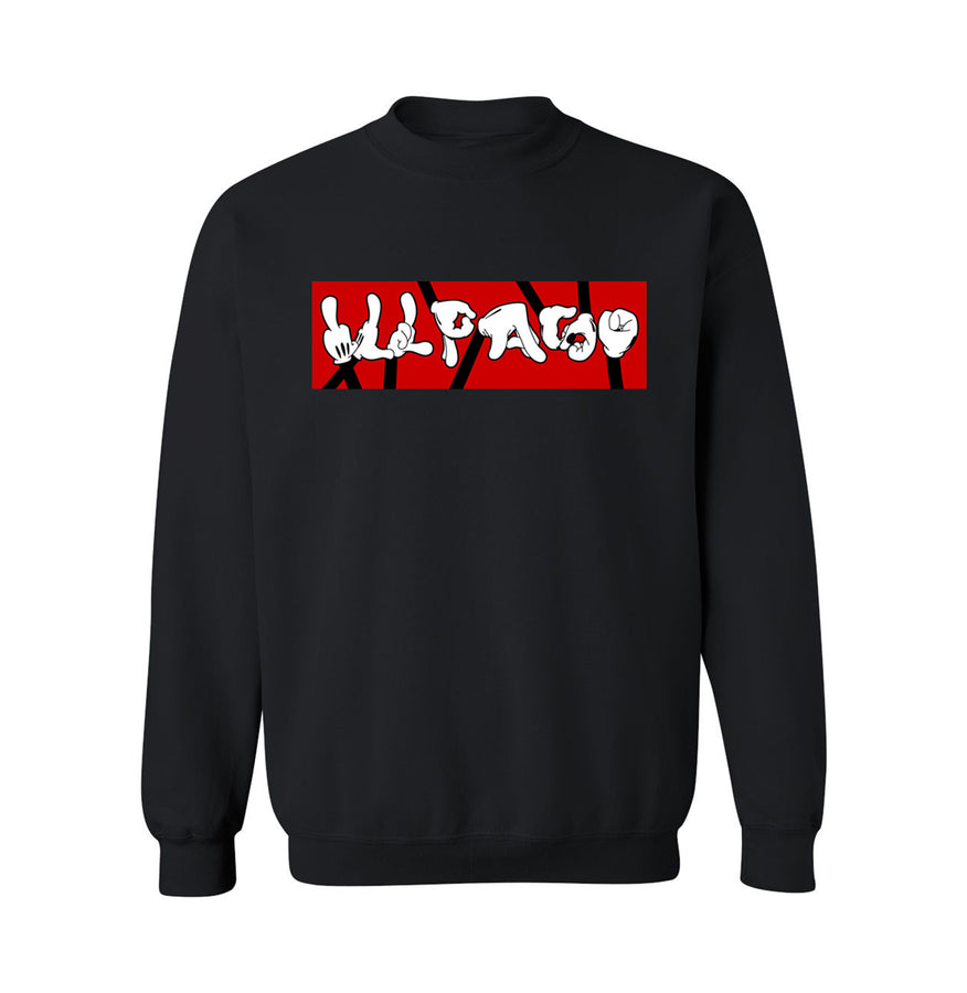 """Hand Signs"" Midweight Crew Neck Sweatshirt (Black) by Don Art"
