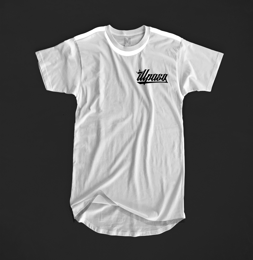 Curved Hem T Shirt (White) by illpaso
