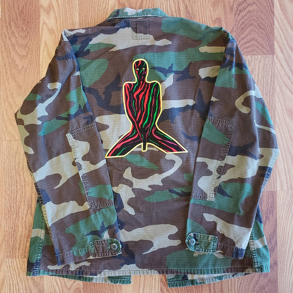 Customized ATCQ Embroidered Army Camo top (Small/Short)