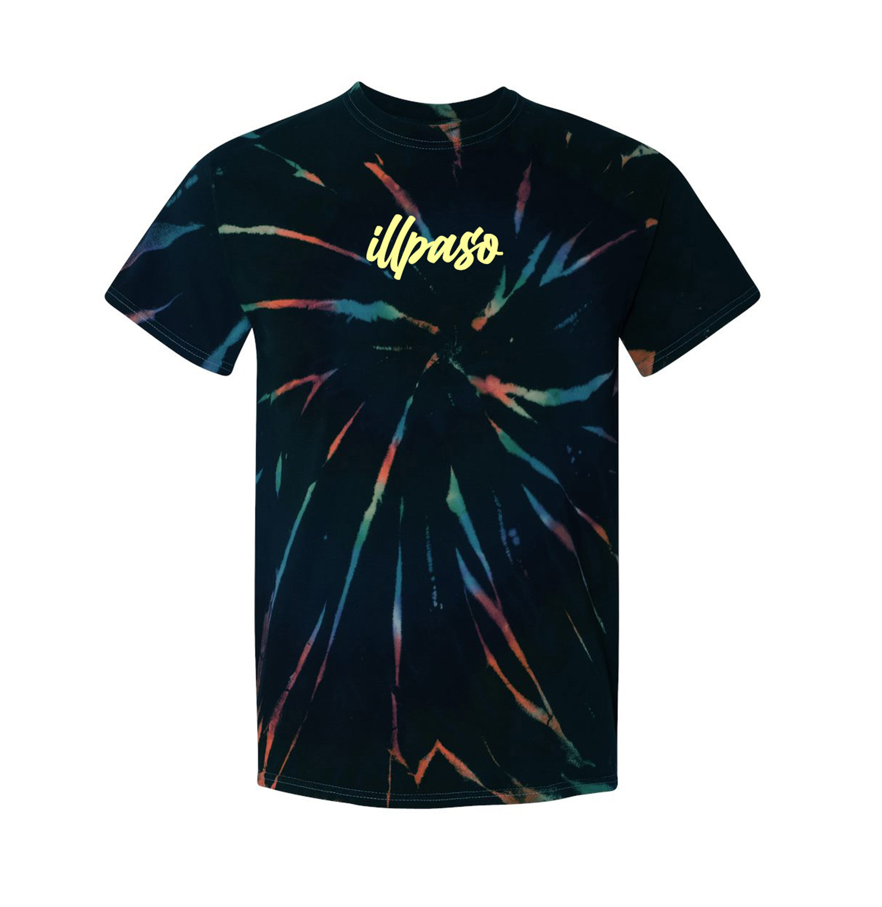 Aurora Multi-Color Spiral Short Sleeve T-Shirt w/ Gold Embroidered Chest Logo by illpaso