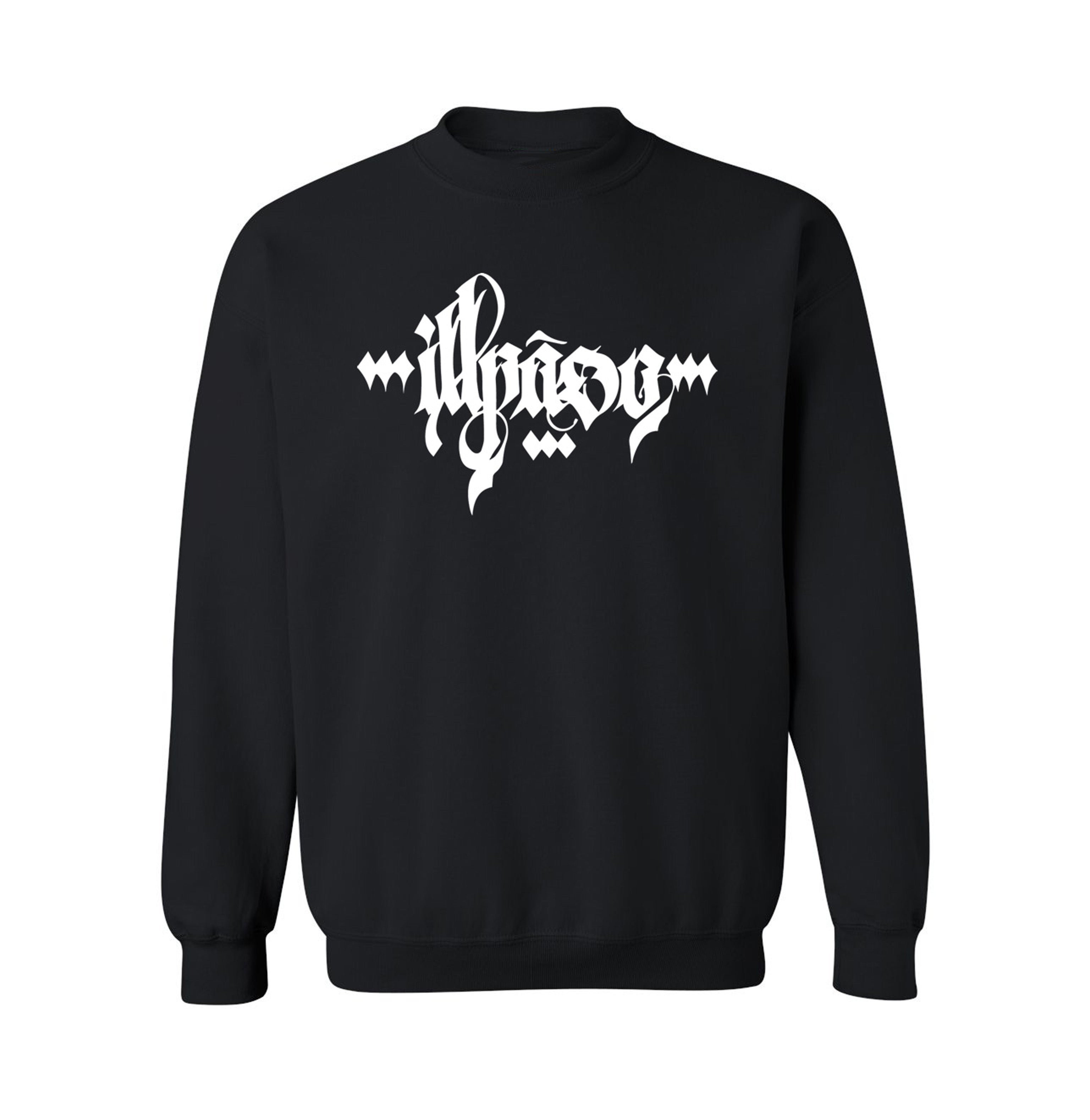 """Calligraphy 1"" Adult Uni-Sex Crew Neck Sweatshirt (Black) by Owenuma"