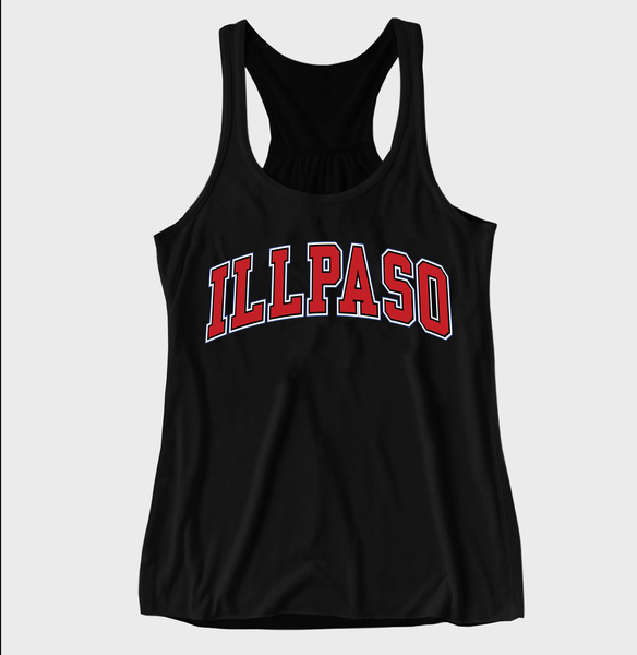 """Jersey"" Women's Racerback Tank Top (Black) by illpaso"