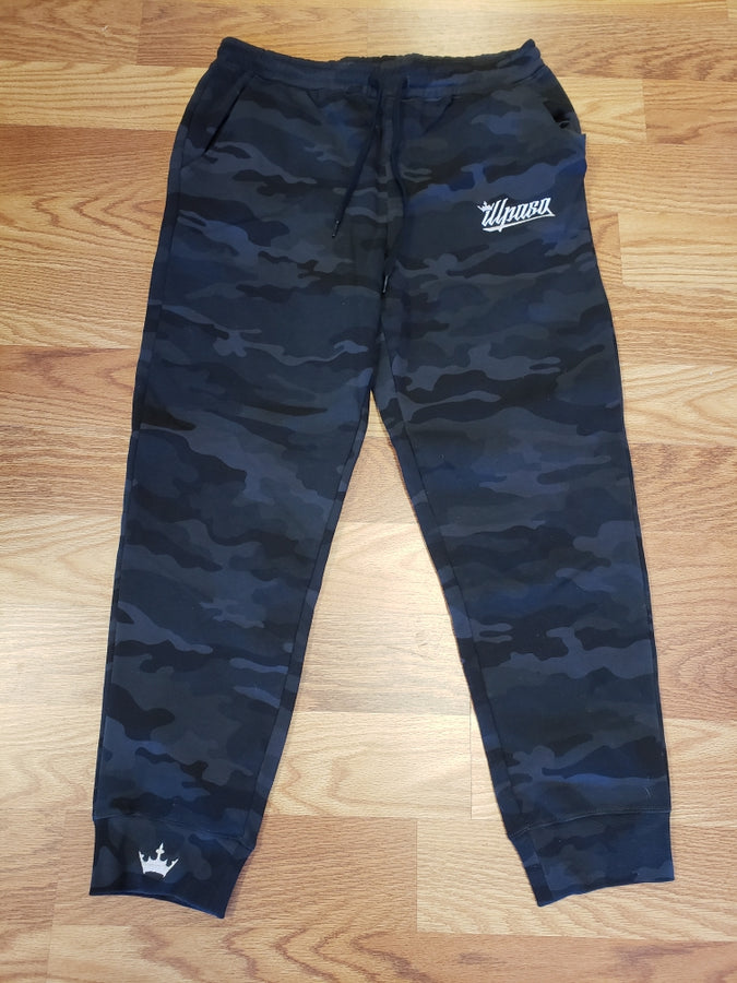 """Crown"" Men's (Camo-Black) Midweight Fleece Jogger Pant"