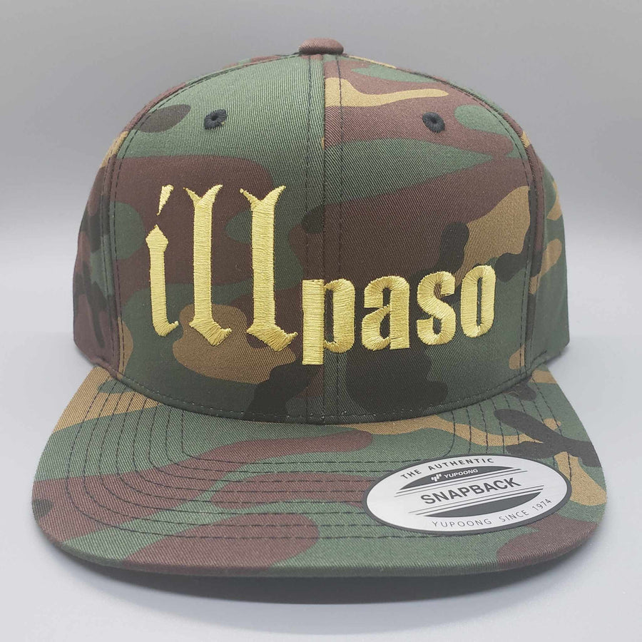 """illmatic Tribute"" Snapback Hat (Camo w/ Gold Logo) by illpaso"