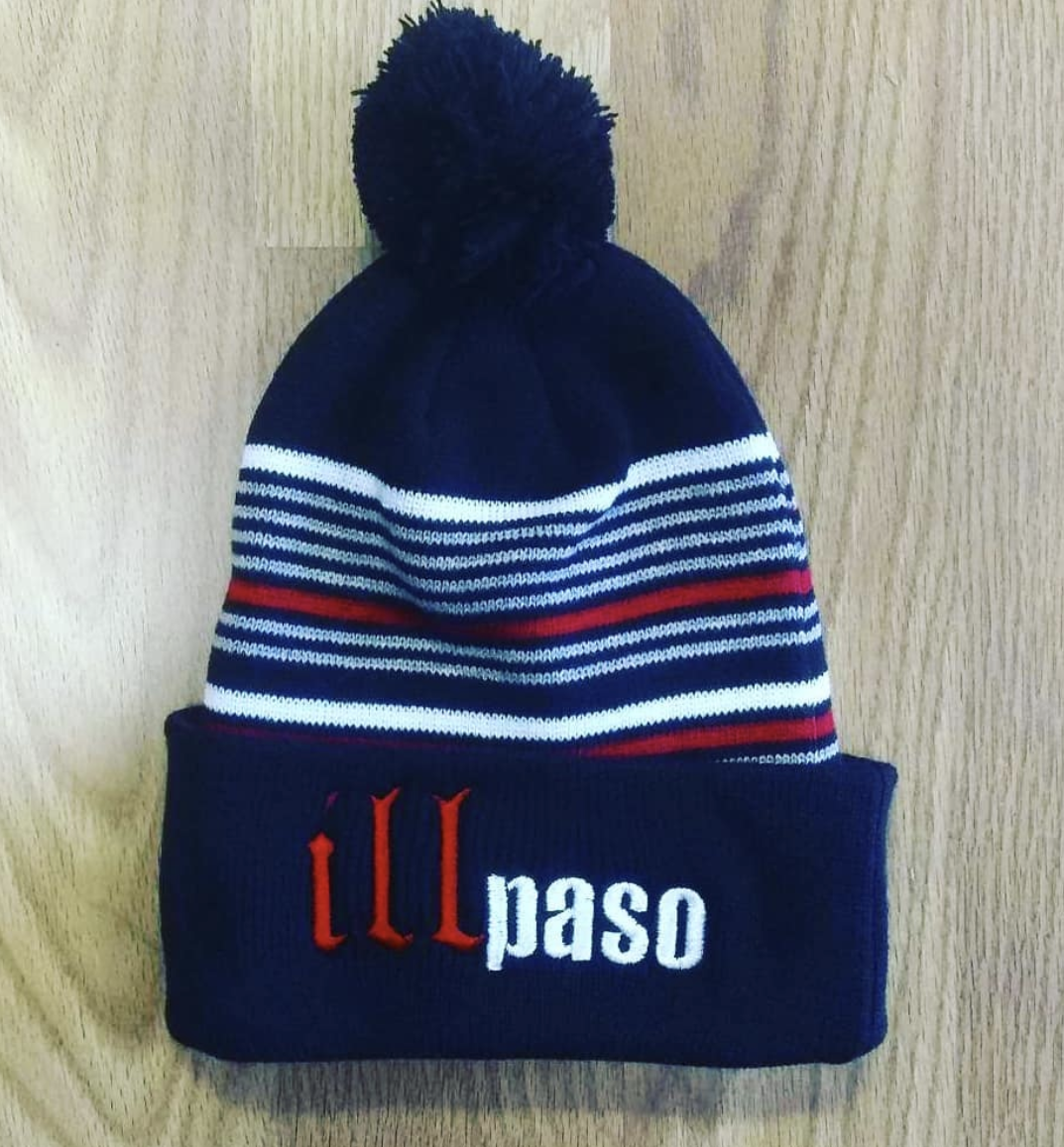 """illmatic Tribute"" Pom Beanie (Navy and Red Striped) by illpaso"