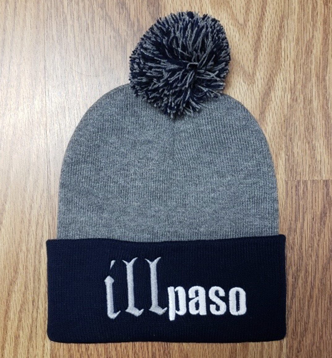 """illmatic Tribute"" Pom Beanie (Navy and Gray) by illpaso"